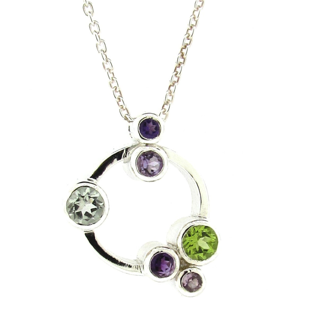 Sterling Silver Purples and Greens 'Circle Bubbles' Pendant