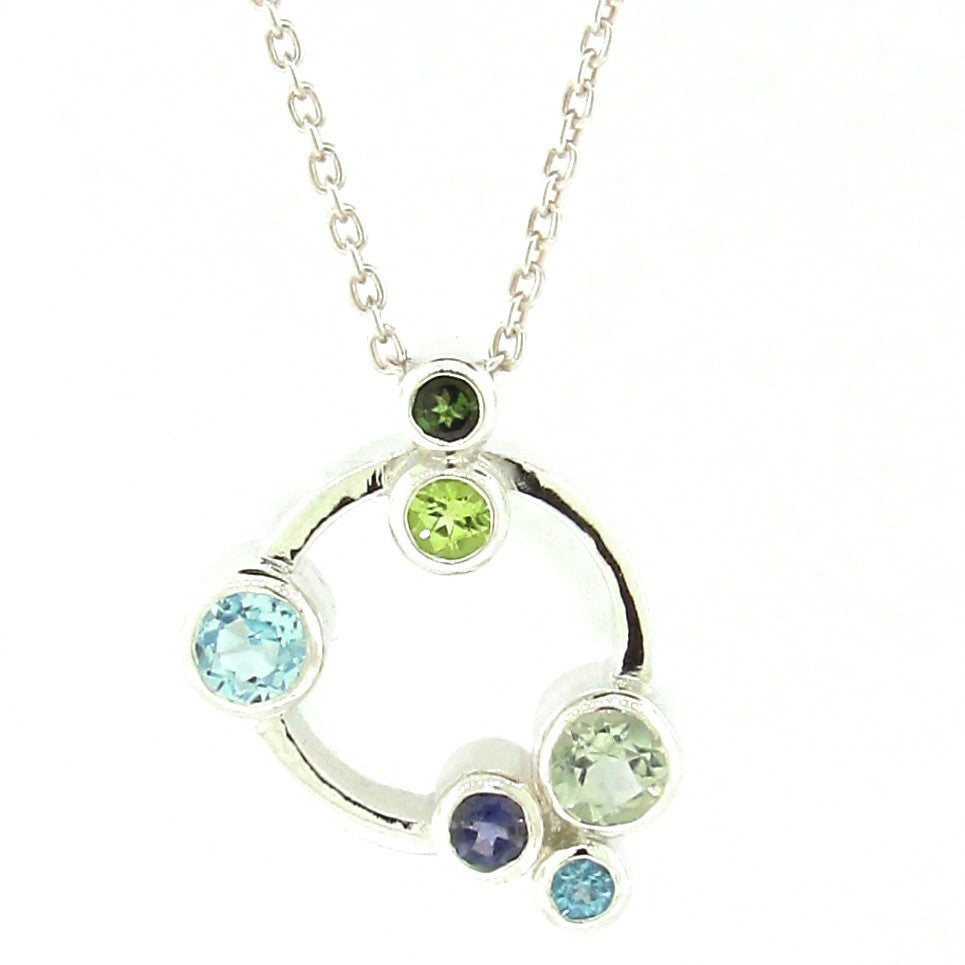 Sterling Silver Greens & Blues 'Circle Bubbles' Pendant