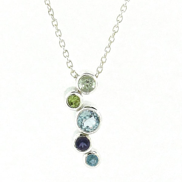 Sterling Silver 'Line Bubbles' Greens & Blue Pendant