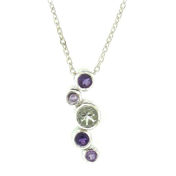 Sterling Silver 'Line Bubbles' Greens & Purple Pendant