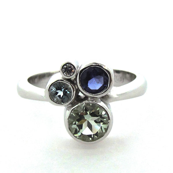 White Gold Green Blue 'Bubbles' Ring