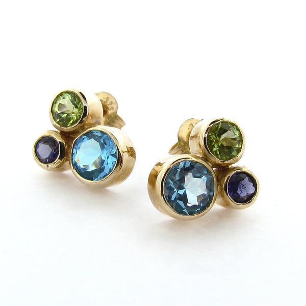 Yellow Gold 'Bubble' Stud Earrings