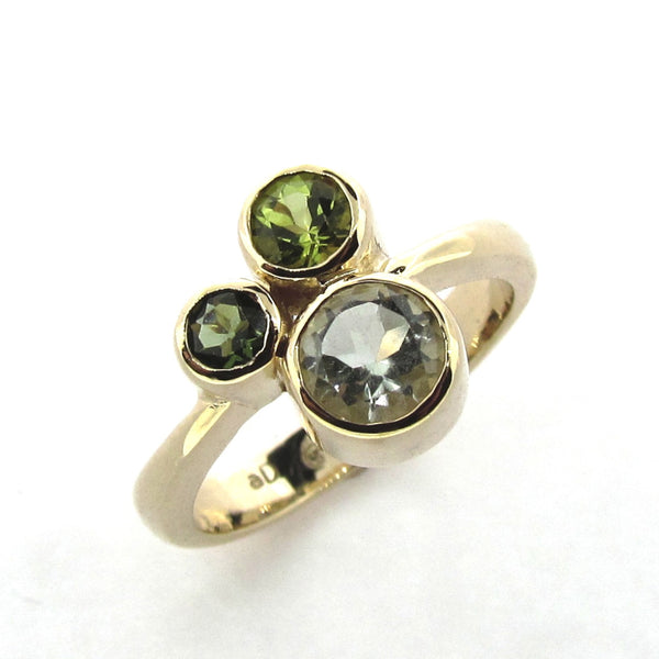 Yellow Gold Green 'Bubbles' Ring