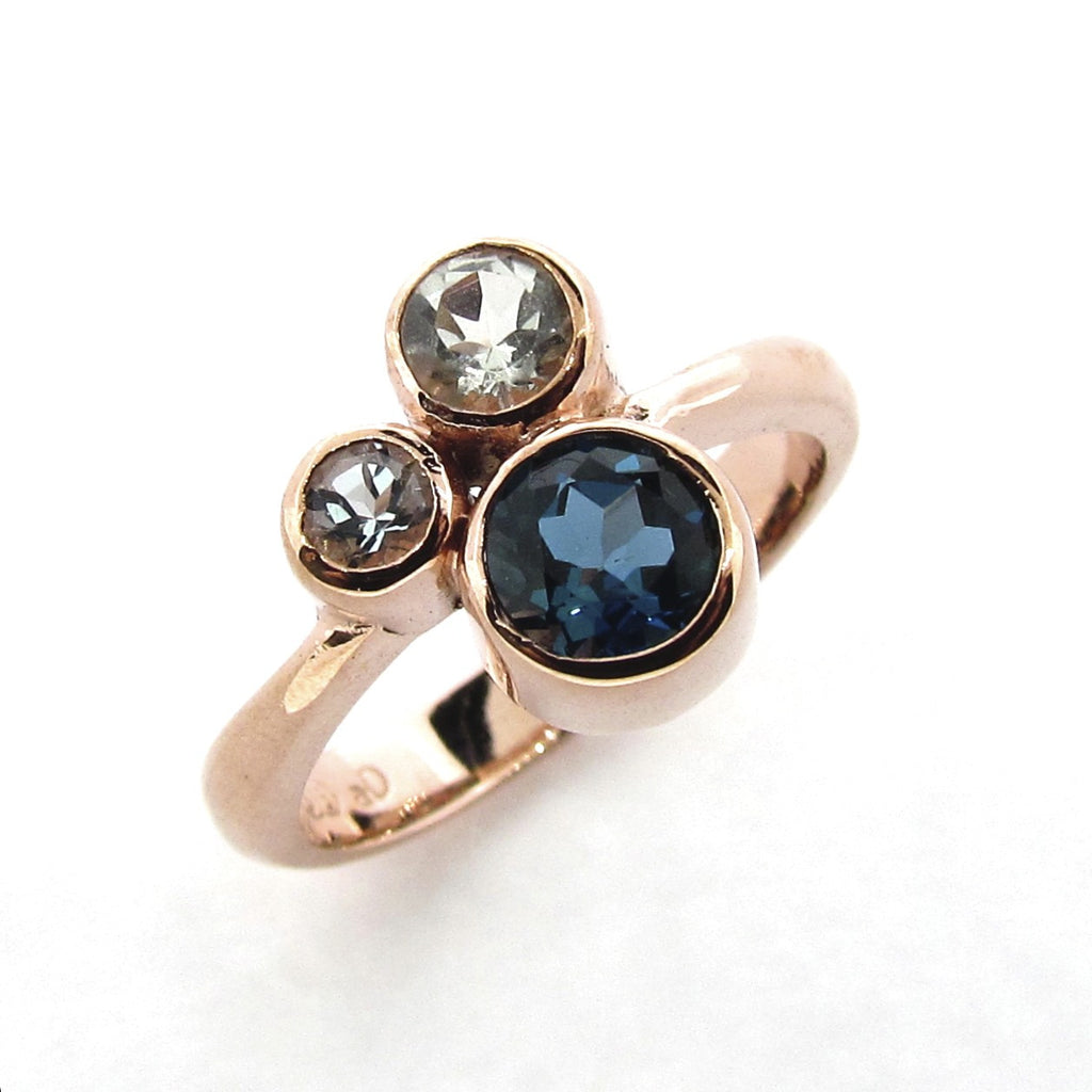 Rose Gold Blue 'Bubbles' Ring
