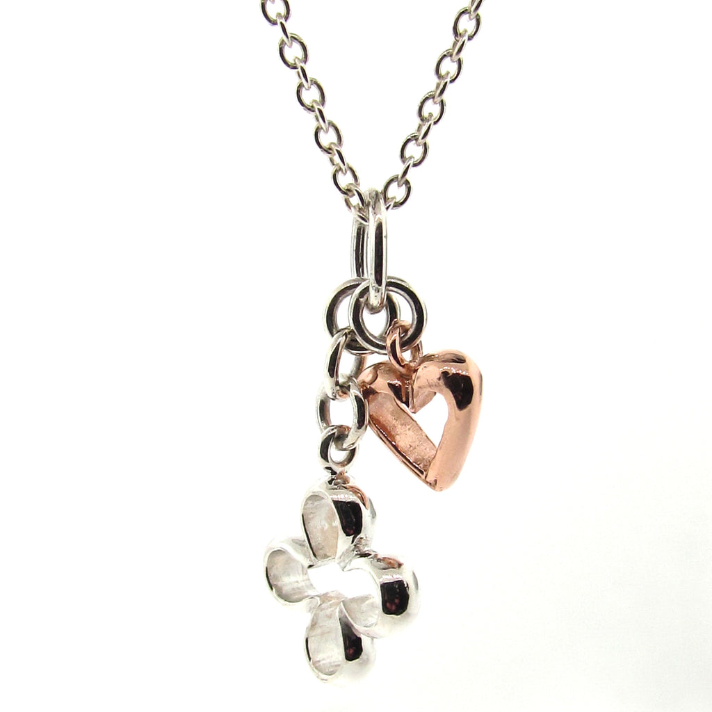 Silver and Rose Gold 'Luck and Love' pendant