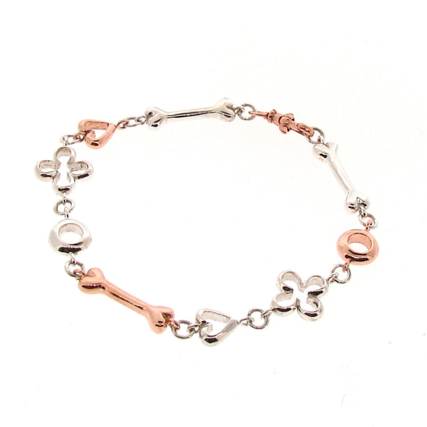 Silver and Rose Gold Luck, Love, Life and Infinity Bracelet