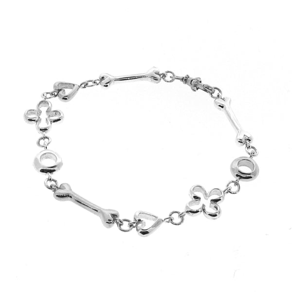 Sterling Silver Luck, Love, Life and Infinity Bracelet