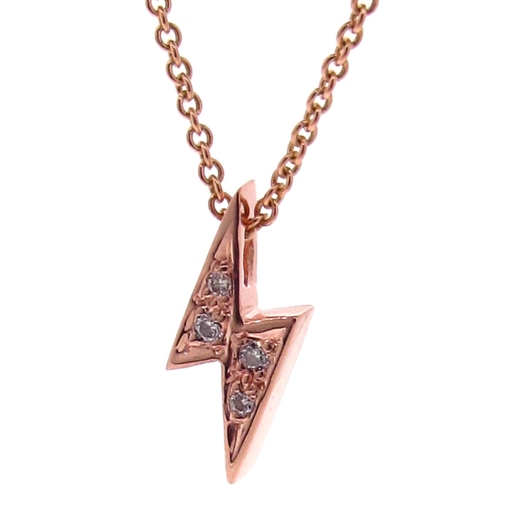 Rose Gold Diamond 'Baby Lightning Bolt' Pendant