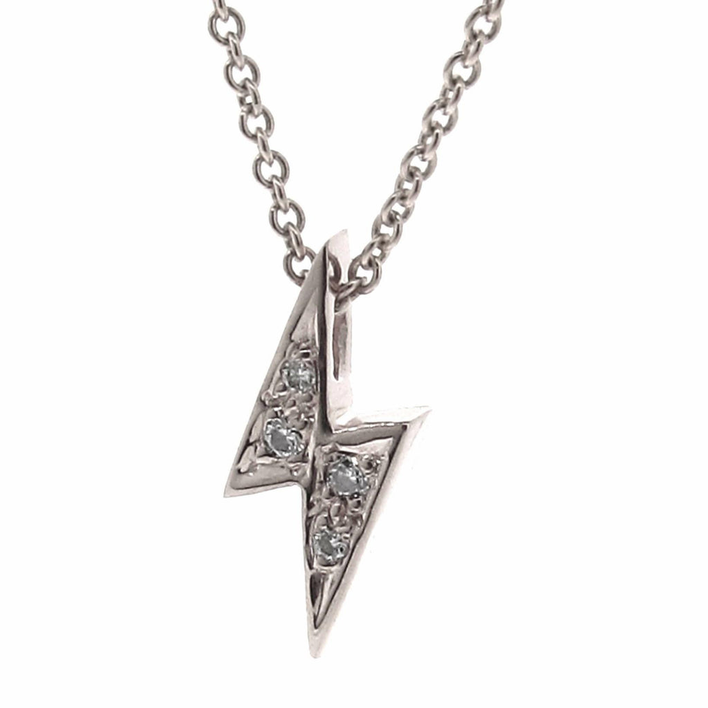 White Gold Diamond 'Baby Lightning Bolt' Pendant
