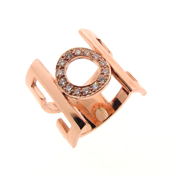 Rose Gold Diamond 'Deco-China' Ring