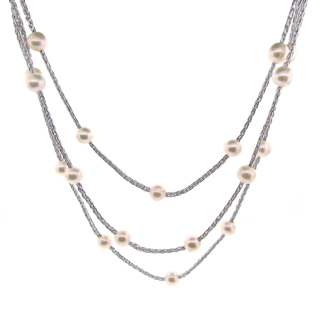 Light Grey Woven Silk Freshwater Long Pearl Necklace