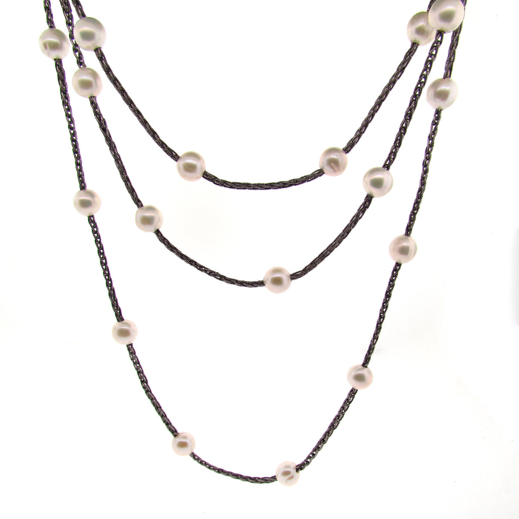 Woven Silk Freshwater Long Pearl Necklace