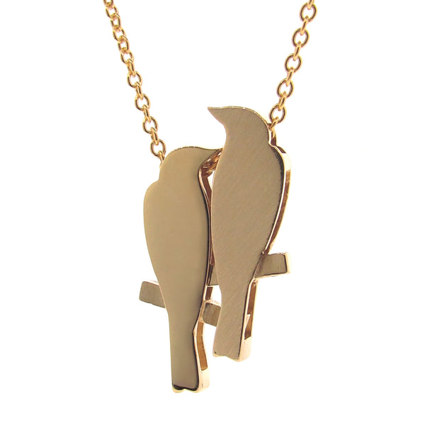 Yellow Gold '2 Finches' Necklace