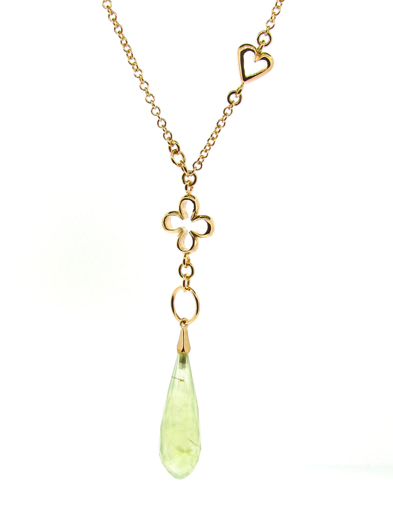 Yellow Gold Prehnite 'Luck & Love' Necklace
