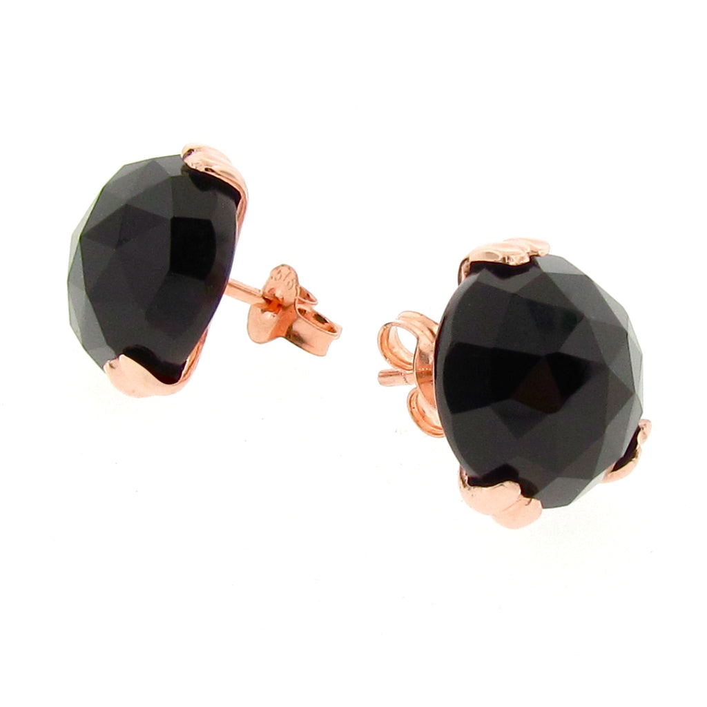 Large Gold 'Era' Onyx earstuds