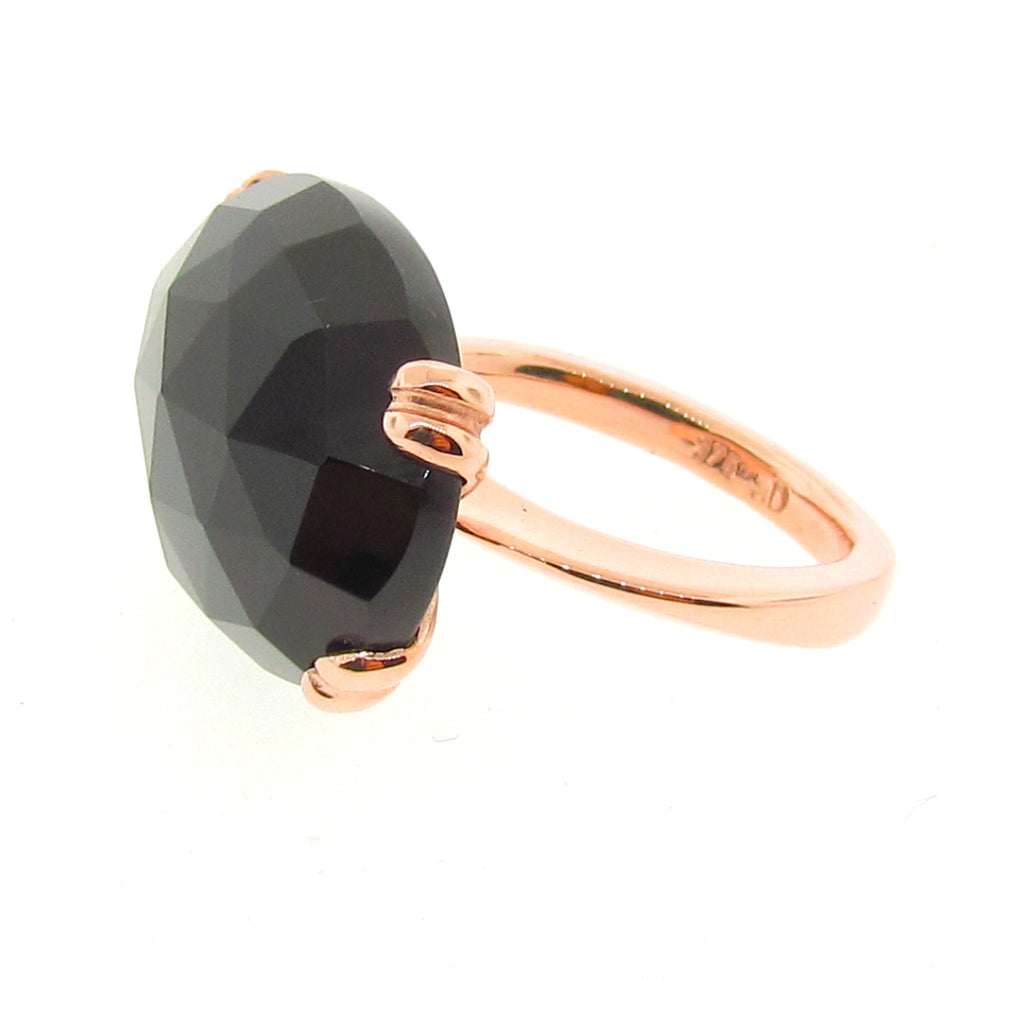 Rose Gold Onyx 'Era' Ring