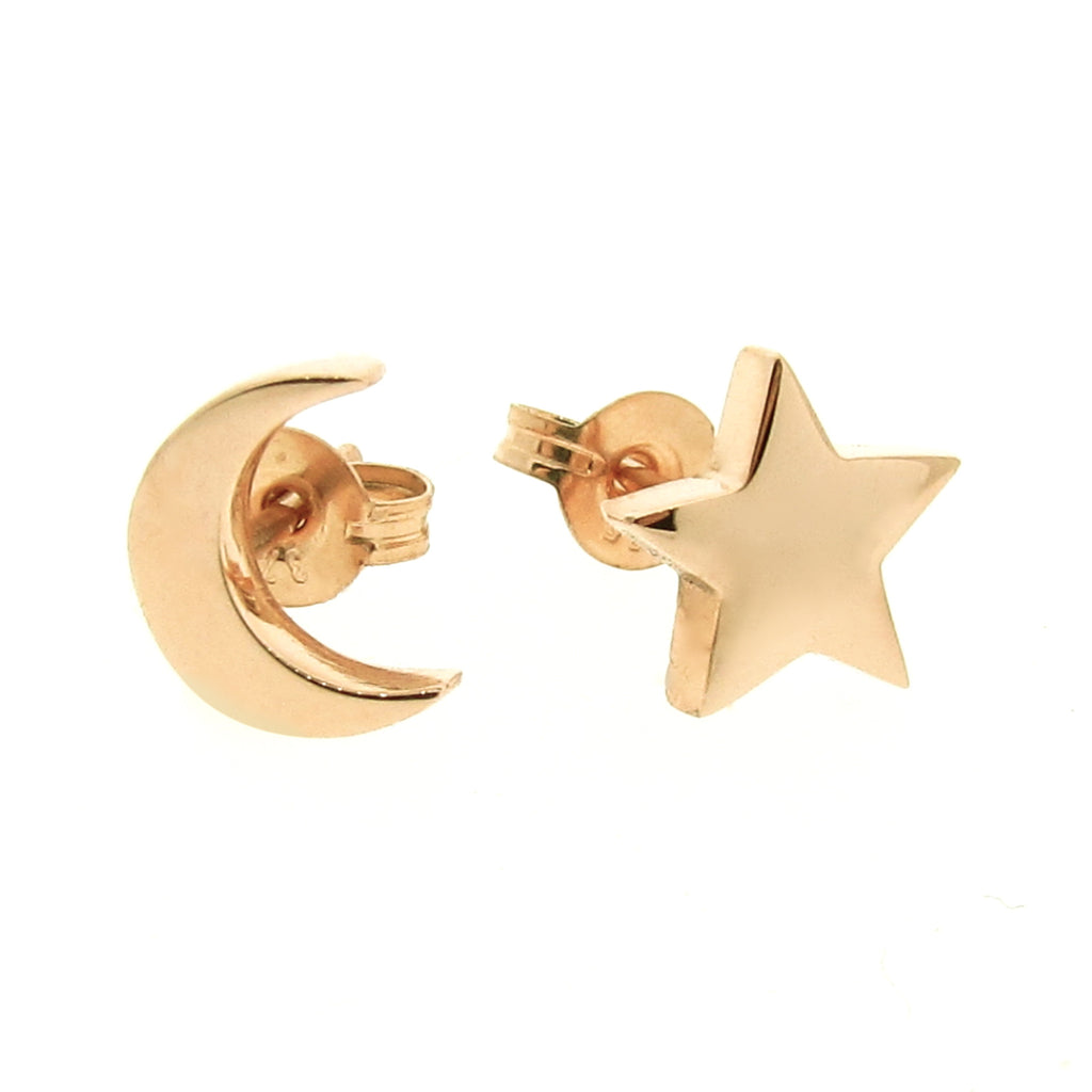 Yellow Gold 'Baby Moon and Star' Stud Earrings