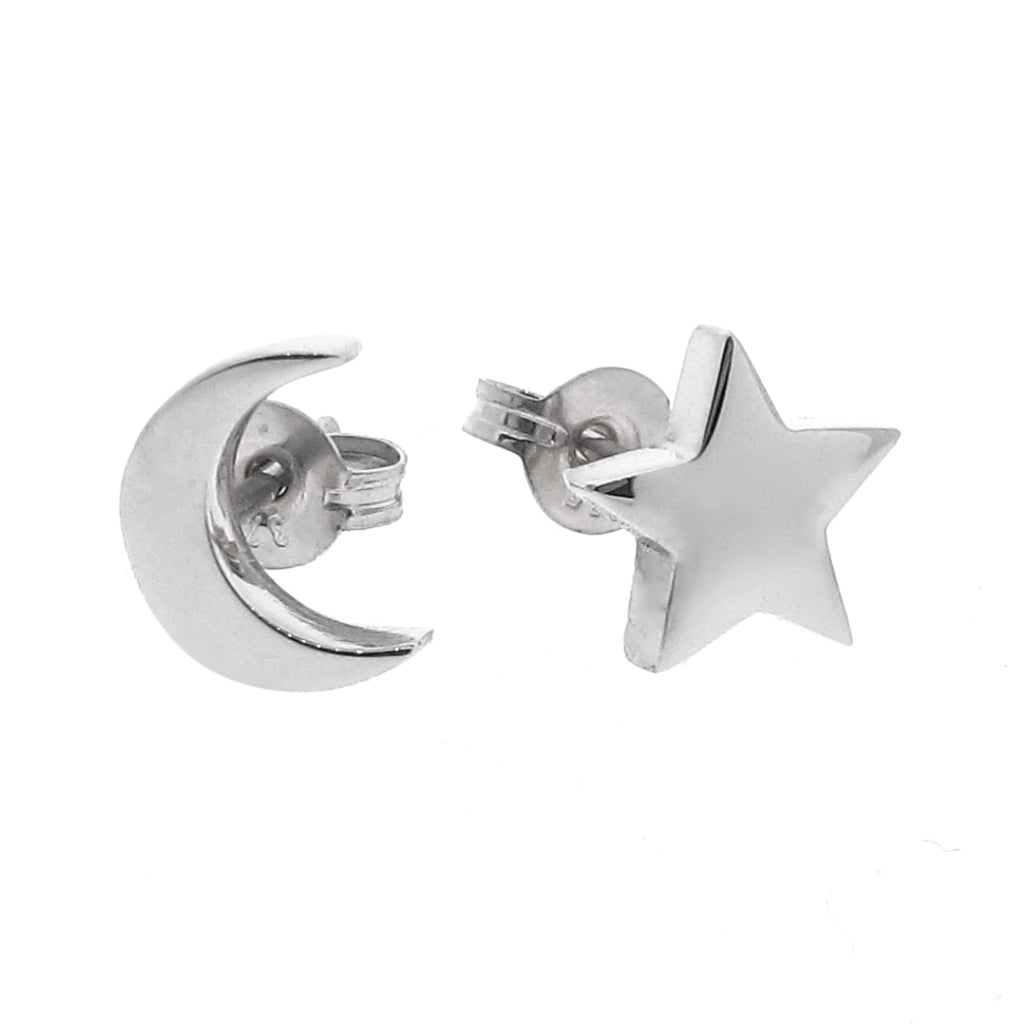 White Gold 'Baby Moon and Star' Stud Earrings