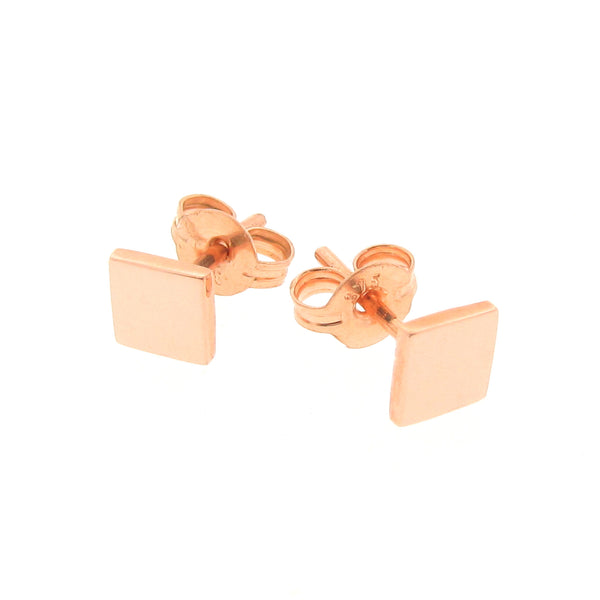 Rose Gold Ray of Light Square stud Earrings