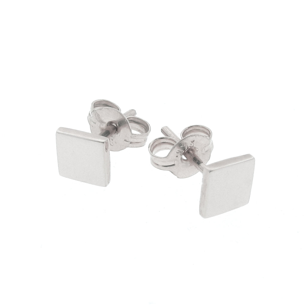 White Gold 'Ray' Square stud Earrings