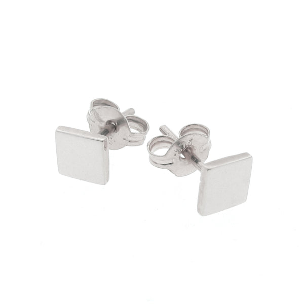 White Gold Ray of Light Square stud Earrings
