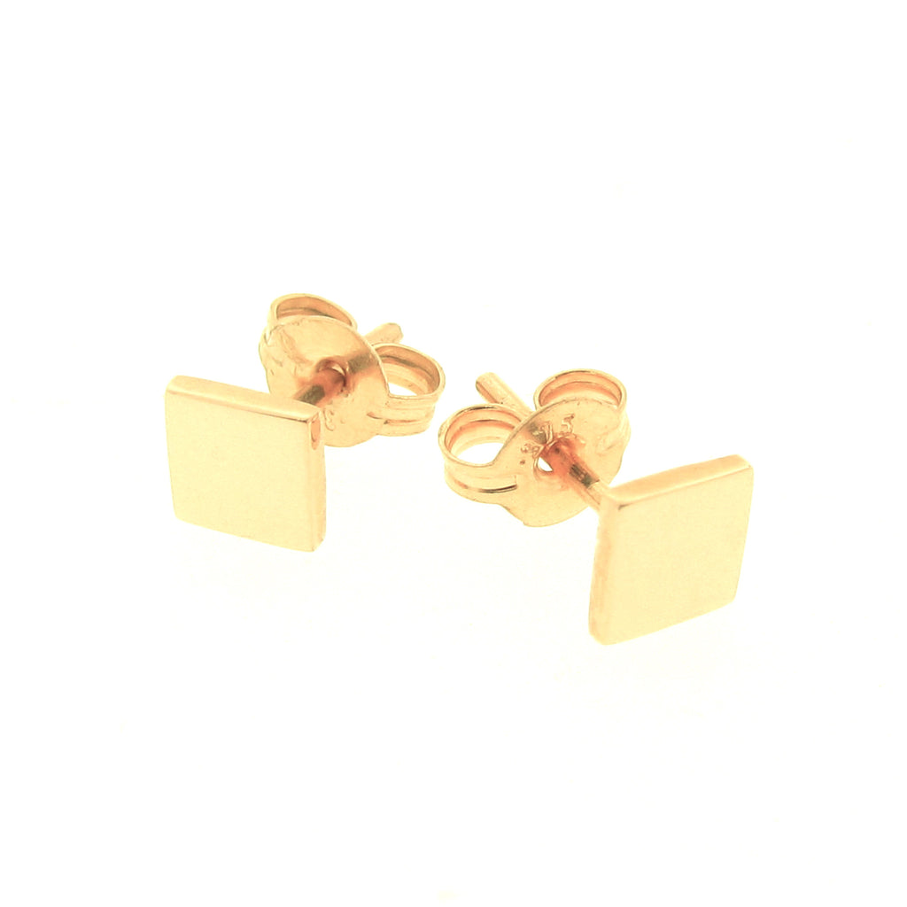 Yellow Gold Ray of Light Square stud Earrings