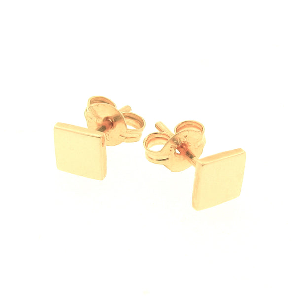 Yellow Gold 'Ray' Square stud Earrings