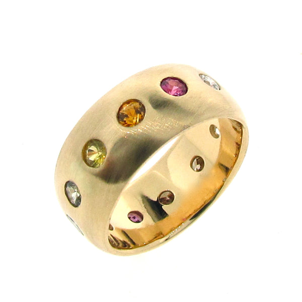 18ct Yellow Gold Rainbow Sapphire Diamond Eternity Band