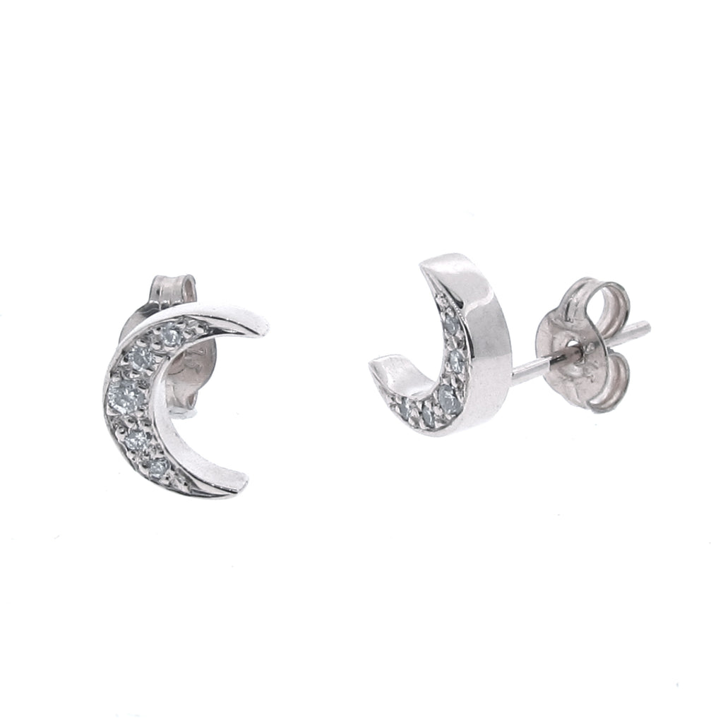 White Gold Diamond 'Moon' Stud Earrings