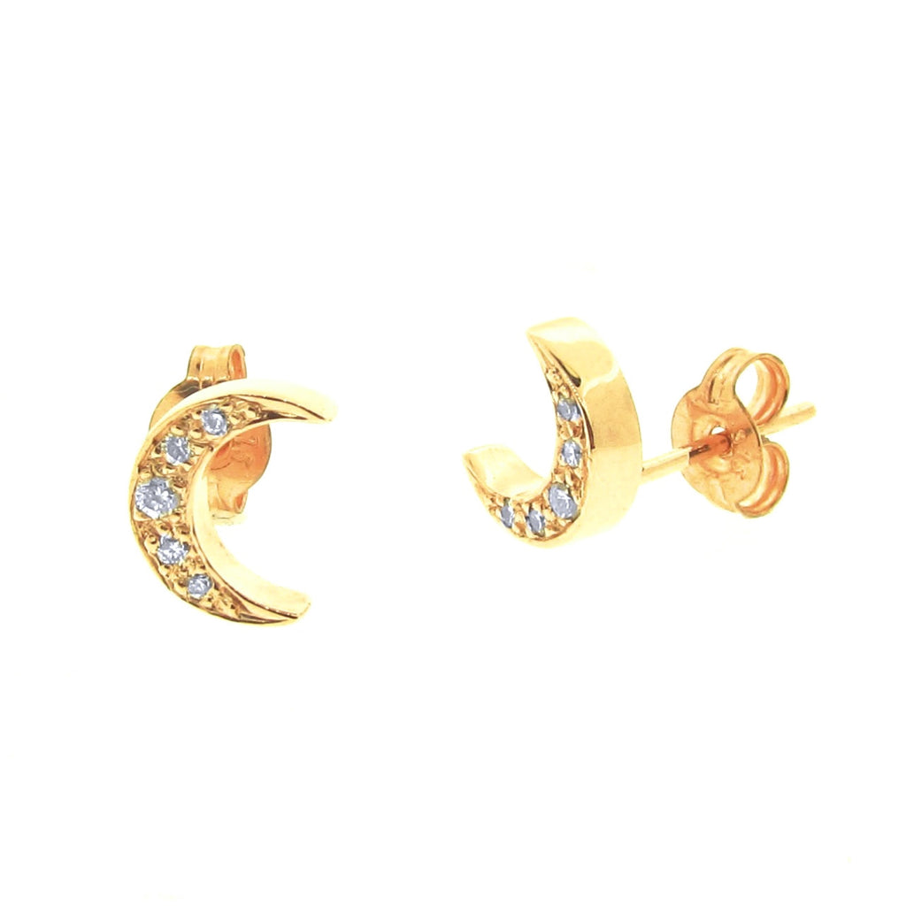 Yellow Gold Diamond 'Moon' Stud Earrings