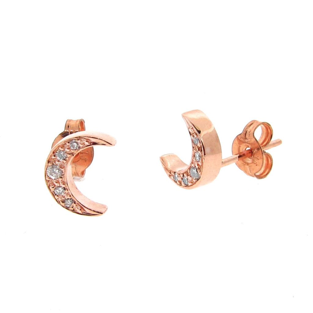 Rose Gold Diamond 'Moon' Stud Earrings