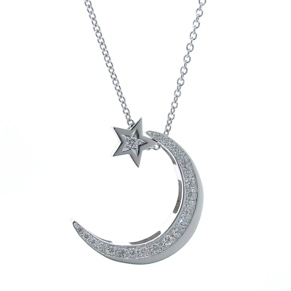 Large White Gold Diamond Moon & Star Necklace