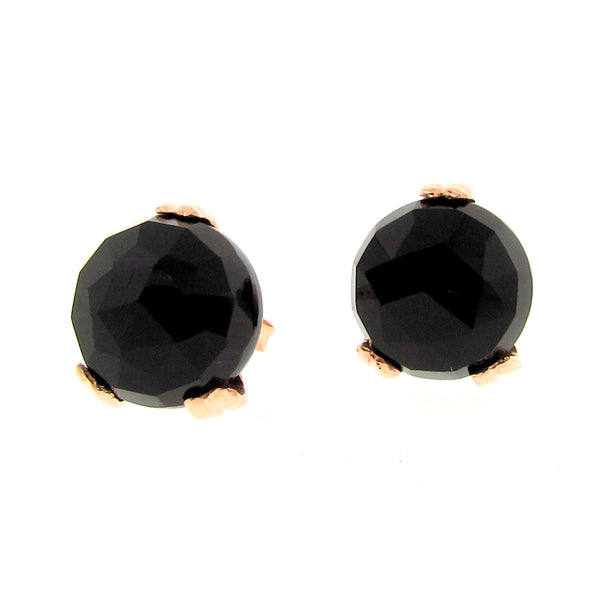 Gold Small  'Era' Onyx earstuds