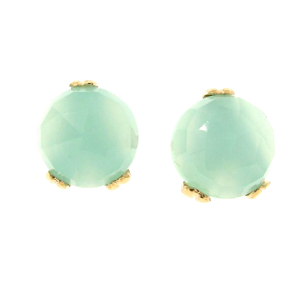 Gold Small 'Era' Chalcedony earstuds