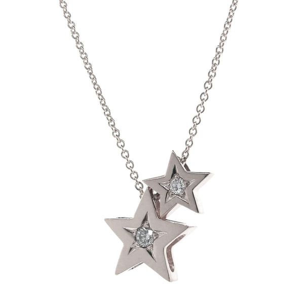 White Gold Diamond '2 Stars' Necklace