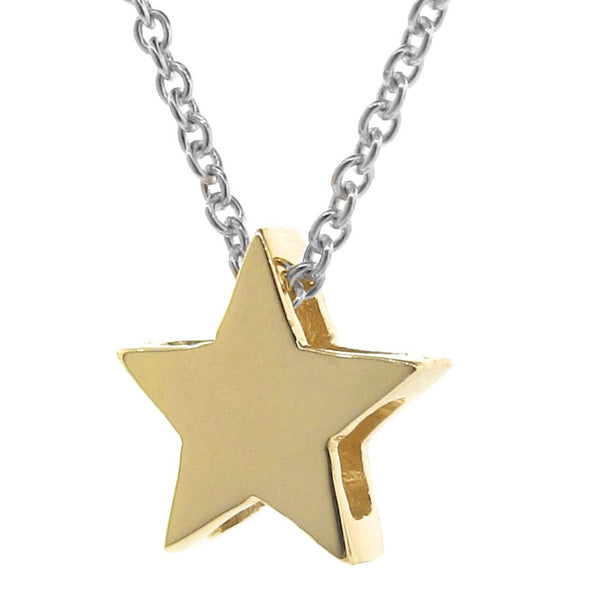 Yellow Gold 'Medium Star' and Silver Necklace