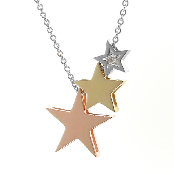 White, Rose & Yellow Gold Diamond '3 Stars' Necklace