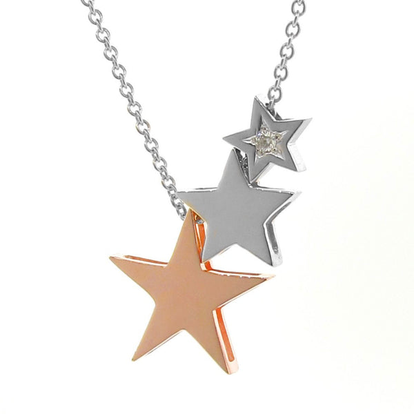 White and Rose Gold Diamond '3 Stars' Necklace