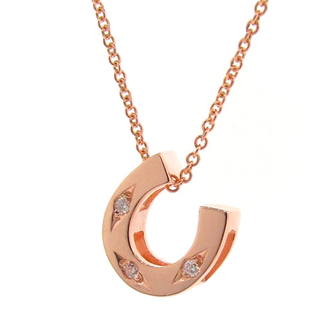 Rose Gold Diamond Horseshoe Pendant or Necklace