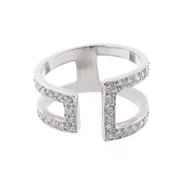 White Gold  Diamond Cuff Ring