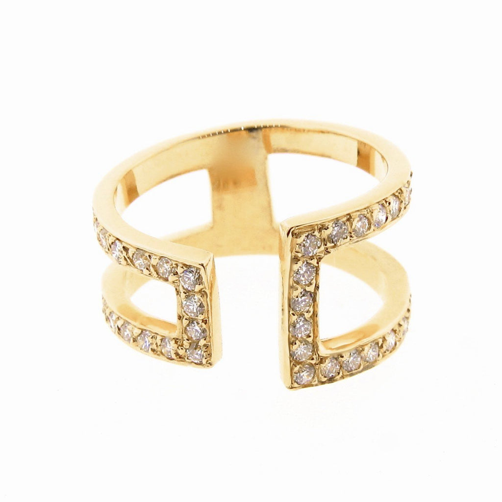 Yellow Gold  Diamond Cuff Ring