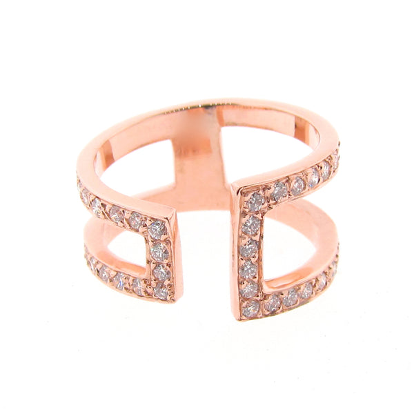 Rose Gold  Diamond Cuff Ring