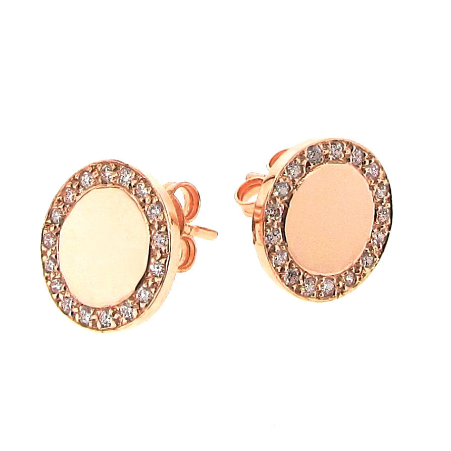 Rose Gold Diamond Large Halo Eclipse Studs