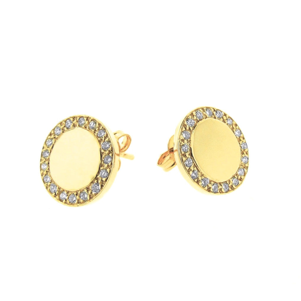 Yellow Gold Diamond Large Halo Eclipse Studs