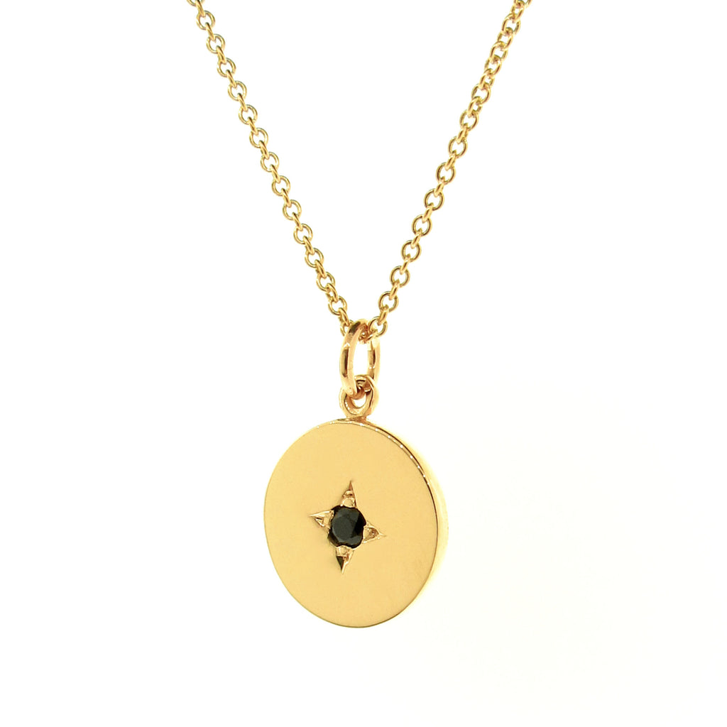 Yellow Gold Black Spinel Medium Eclipse Pendant