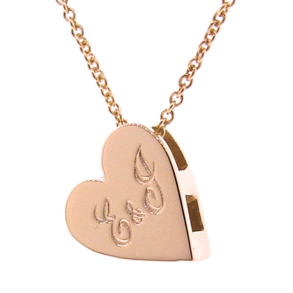 Rose Gold engraved Medium Heart Pendant