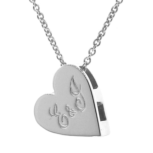 Silver Medium Engraved Heart Pendant