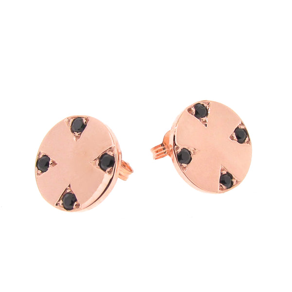 Rose Gold Four Corners of the Earth studs
