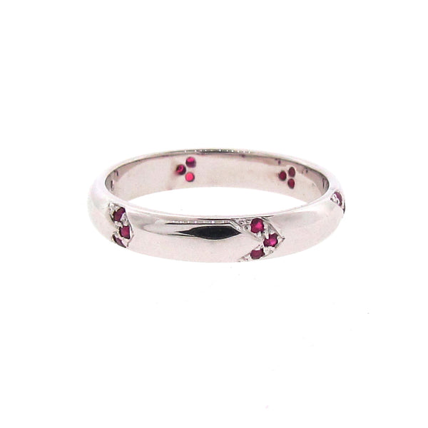 Find Your Direction Narrow Band in White Gold and Ruby
