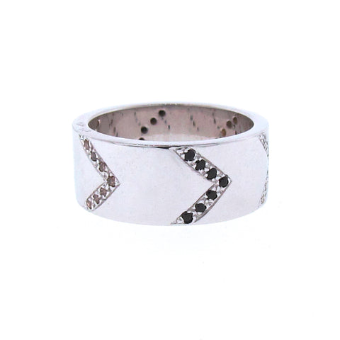Find Your Direction Wide Band in White Gold, Spinel and Diamond